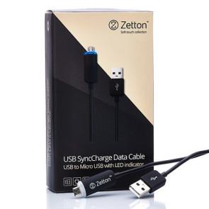 Кабель Zetton MicroUSB LED-1